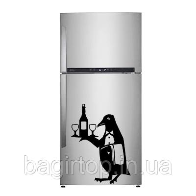 Вінілова наклейка на холодильник (Пінгвін) від 25х20 см