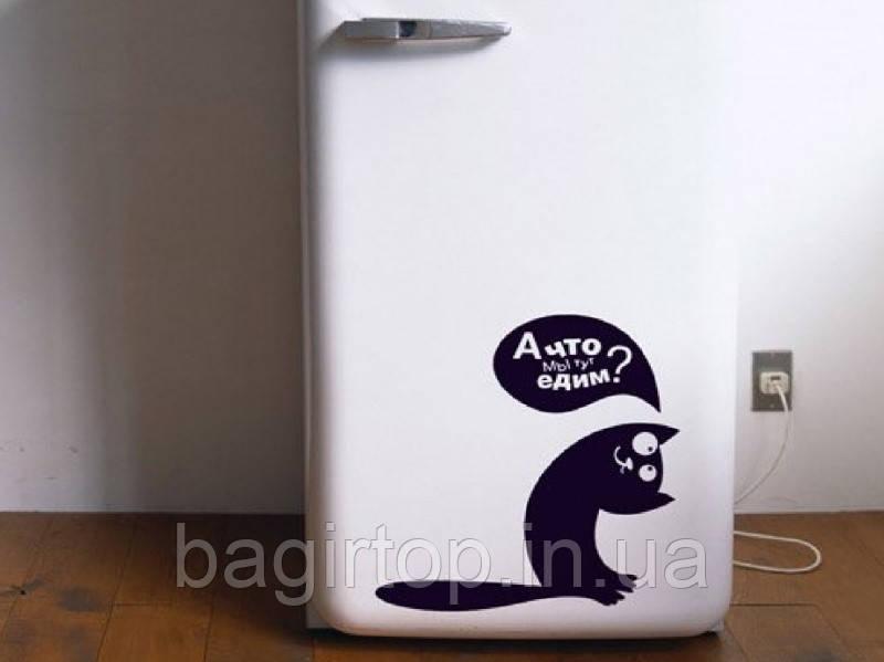 Виниловая наклейка на холодильник (кот- а что едим? ) от 25х25 см