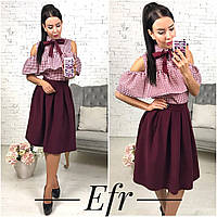 Классическая женская юбка складочка,цвет марсала,электрик