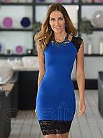 Коктейльное мини платье с кружевом синее