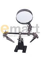 Увеличительное стекло ZD-10D на подставке с зажимами, 3X увеличение, диаметр 60 мм
