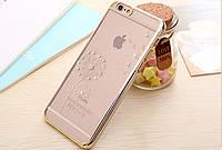 """Пластиковый чехол со стразами """"Одуванчик"""" золото для iPhone 6/6S"""