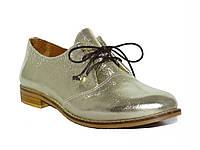 Женские кожаные туфли на низком ходу (золотые)