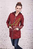 Стильное женское пальто с капюшоном от производителя модель весна 2017 - (рр-51)