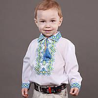"""Вышиванка для мальчика с желто-голубой вышивкой на рост 86-110см, """"Незалежність"""""""