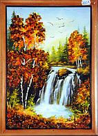 Картина украшена янтарем 21х30 лакированная рамка
