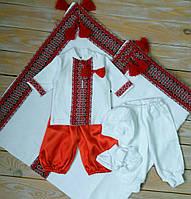 Крестильный набор для мальчиков (трикотажный набор с 2 штанишками+крыжма)