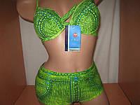 Купальник женский бюст+шортики под джинс зеленый