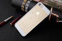 Пластиковый чехол серебро со стразами для iPhone 5/5S/SE