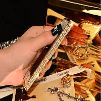 """Золотой алюминиевый бампер со стразами """"Королевский"""" для iPhone 5/5S/SE"""