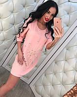 "Женское модное платье-туника с жемчугом ""Паук"" (2 цвета)"