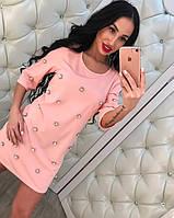 Женское модное платье с бусинками (3 цвета)