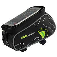 Сумка на раму для телефону CBR 6.0 дюймів - чорно-зелена, фото 1