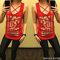Женский фитнес костюм майка+лосины. Размер ХS, S, М. Материал бифлекс. Цвет: черный с красным.