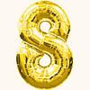 Шар цифра - 8. Цвет: золото. Размер: 60 см.