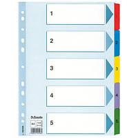 Разделители Esselte Mylar  A4 белый картон 1-5 100160