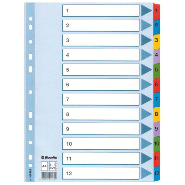 Разделители Esselte Mylar  A4 белый картон 1-12 100162