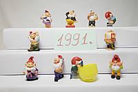 Гномы Чистюли 1991,10шт комплект, Die Badezimmerzwerge 1991 Игрушки из киндеров
