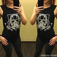 Женский фитнес костюм тройка: майка, топ и лосиный черного цвета. Размер ХS, S, М. Материал бифлекс.