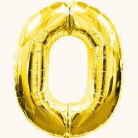 Шар цифра - 0. Цвет: золото. Размер: 60 см.