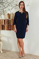 Модное деловое платье с украшением на горловине и рукавом три четверти, большой размер