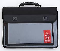 Папка-портфель на 2 отд. с дополнительным карманом F/C  Carbon   L6225490791