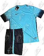 Футбольная форма игровая Nike (Найк голубой\черный)