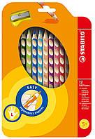 Карандаши 12 цветов для левши с точилкой STABILO EASYcolors 290223