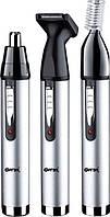 Триммер для бровей, носа и ушей Gemei GM 3107: 3 насадки, аккумулятор, лезвия из нержавеющей стали