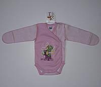Боди с длинным рукавом детский розовый Фламинго 56 см