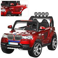 Детский электромобиль джип BMW  M 3118 EBLRS-3, р.у., (EVA колеса),автопокраска,кожа, звук,свет, красный