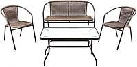 Комплект мебели для сада или террасы, набор садовой мебели с софой и столом