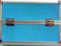 Чемодан металлический раздвижной голубой с камнями 2629 YRE