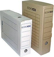 Короб архівний картонний 80 мм Economix, коричневийE32701-07