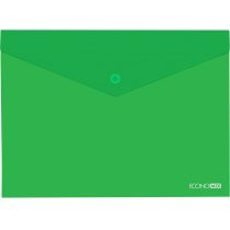 Папка-конверт В5 прозора на кнопці Economix, 180 мкм, фактура  глянець , зелений E31302-04