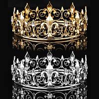 Универсальная круглая корона под золото, диадема, высота 5,5 см.