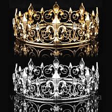 Мужская круглая корона под золото, высота 5,5 см.
