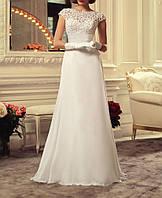Длинное кружевное свадебное платье с гипюровым верхом и расклешенной шифоновой юбкой СВ-91466