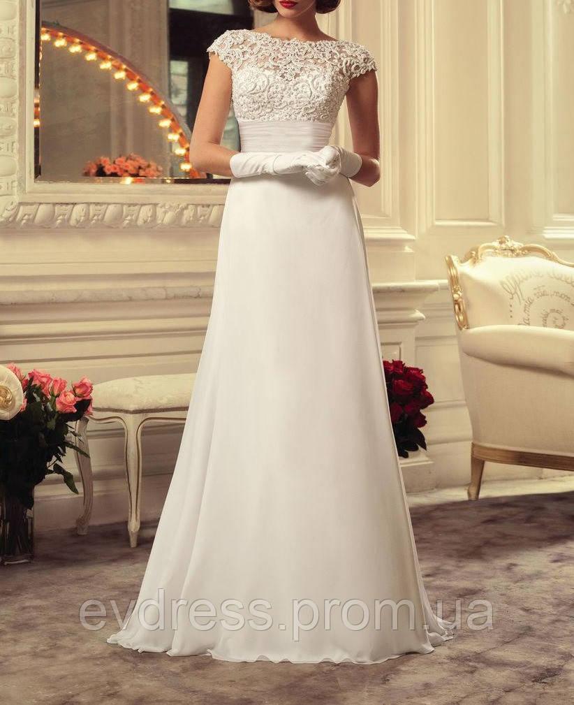 678b18e2f9c Длинное кружевное свадебное платье с гипюровым верхом и расклешенной  шифоновой юбкой СВ-91466 - Интернет