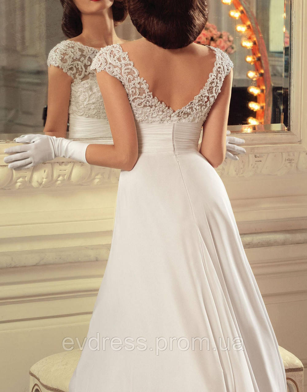 793e6df3e91 Красивое длинное свадебное платье А-силуэта с кружевным верхом СВ-91466 -  Интернет-