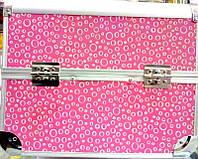Чемодан металлический раздвижной розовый в кружочек 2629 YRE