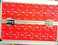 Чемодан металлический раздвижное дно касный цветок 2629 YRE