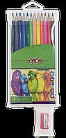 Карандаши цветные Zibi 12 цветов, SMOOTH, ПВХ пенал + точилка (ZB.2408)