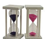 Часы песочные стеклянные 16 см песок синий, фото 2