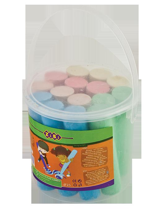Мел цветной JUMBO круглый, 15 шт., в ведре, BABY Line (ZB.6711-99)