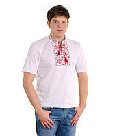 Біла футболка, вишита червоно-чорною гладдю «Сніжинка»