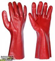 """Перчатки кислотостойкие, х/б трикотаж, полноеПВХ покрытие, манжет крага(красные)350мм,10,5"""",185-190г"""