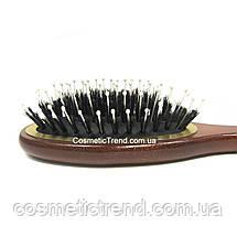 Щетка для волос массажная овальная деревянная со смешанной шетиной Salon Professional 7696CLG, фото 2