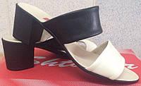 Сабо кожаные на каблуке, летняя женская обувь от производителя модель СТЛ16