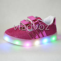 Детские светящиеся кроссовки с led подсветкой для девочки малиновые Jong Golf 24р.